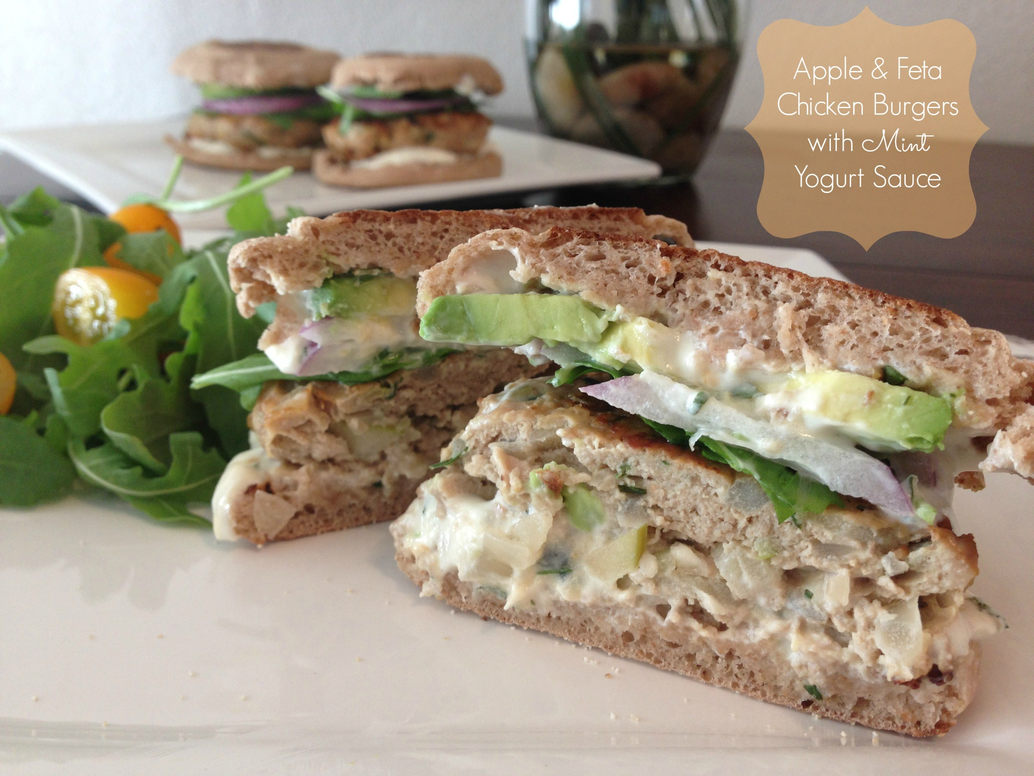 Apple & Feta Chicken Burgers with Mint Yogurt Sauce