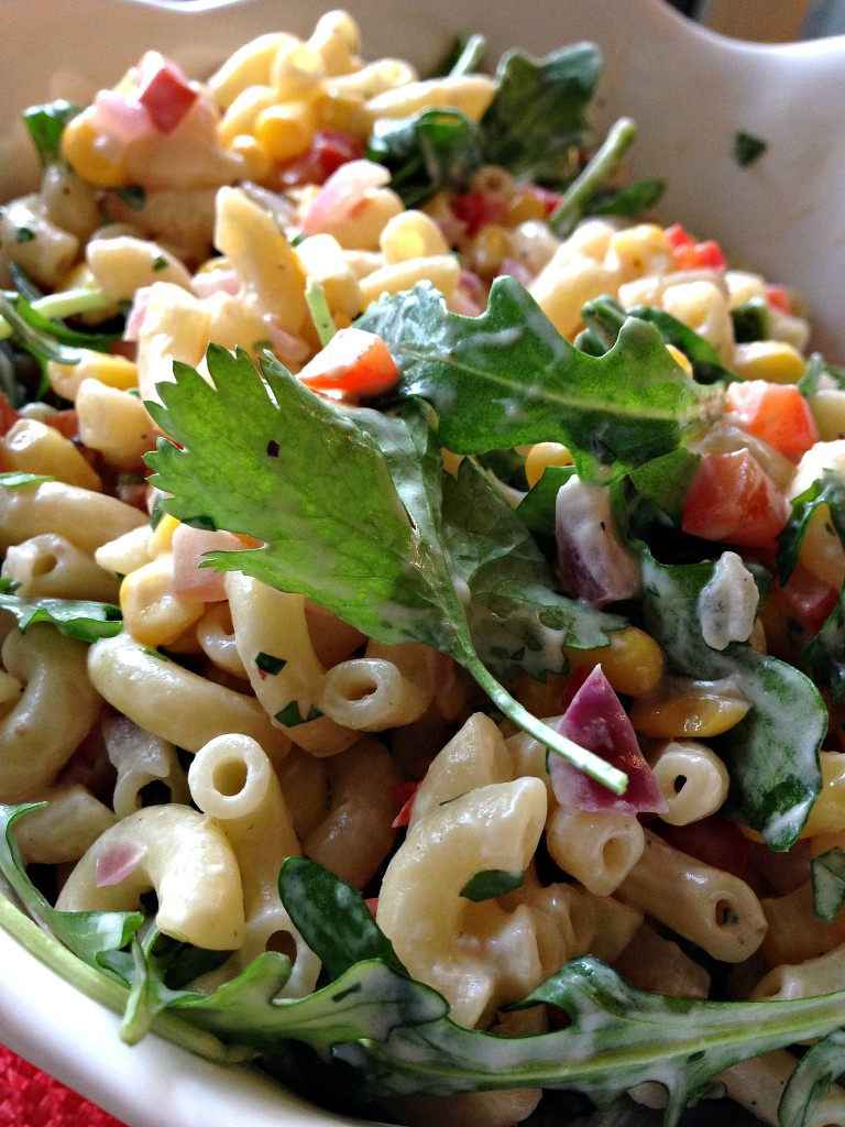 Creamy Macaroni Salad with Corn and Arugula. A light, healthy and delicious lunch or side dish. | dishingouthealth.com