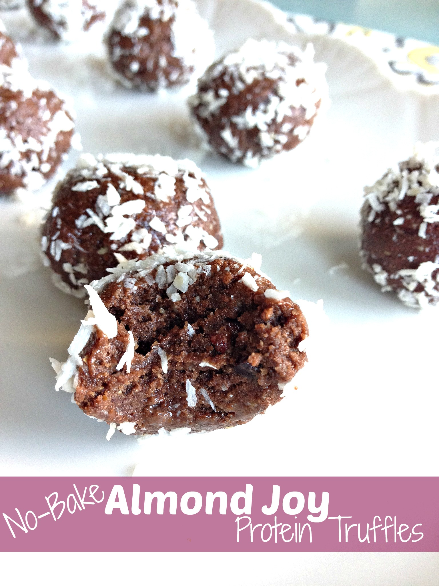 No-Bake Almond Joy Protein Truffles