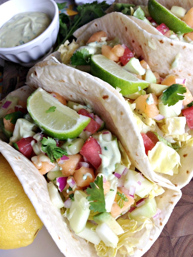 Fish tacos with melon mint salsa and avocado crema for Crema for fish tacos