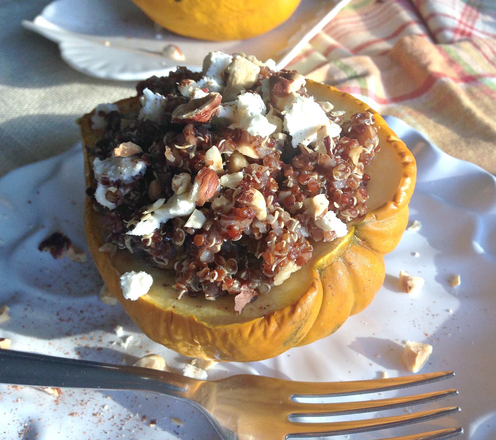 Maple Balsamic Quinoa Stuffed Acorn Squash