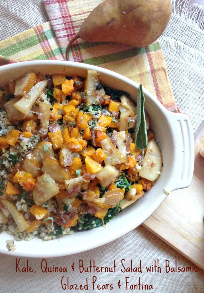 Kale, Quinoa & Butternut Squash Salad with Balsamic Glazed Pears and Fontina; the perfect vegetarian fall salad