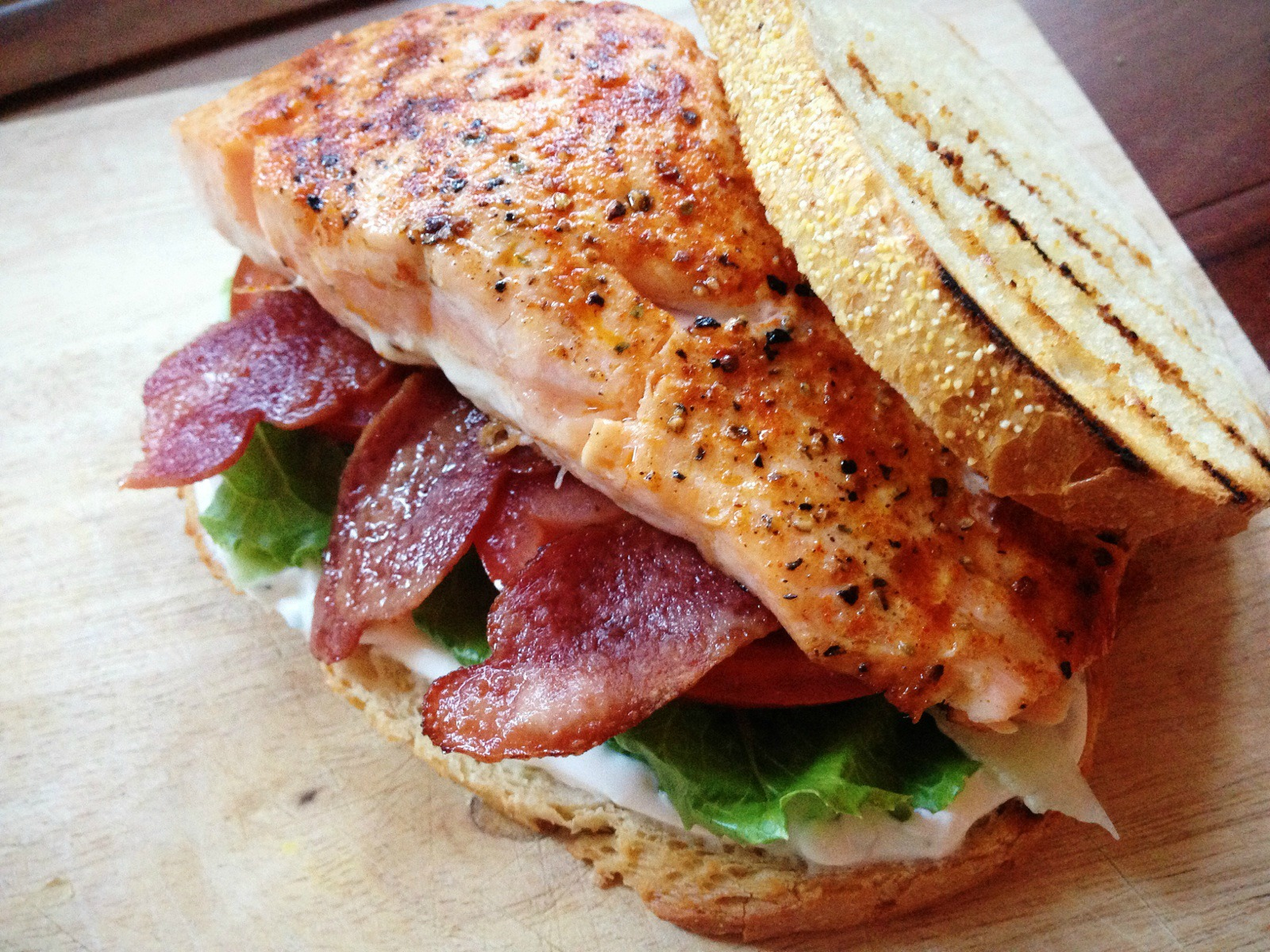 Smoky Salmon BLTs with Tangy Yogurt Spread | Dishing Out Health