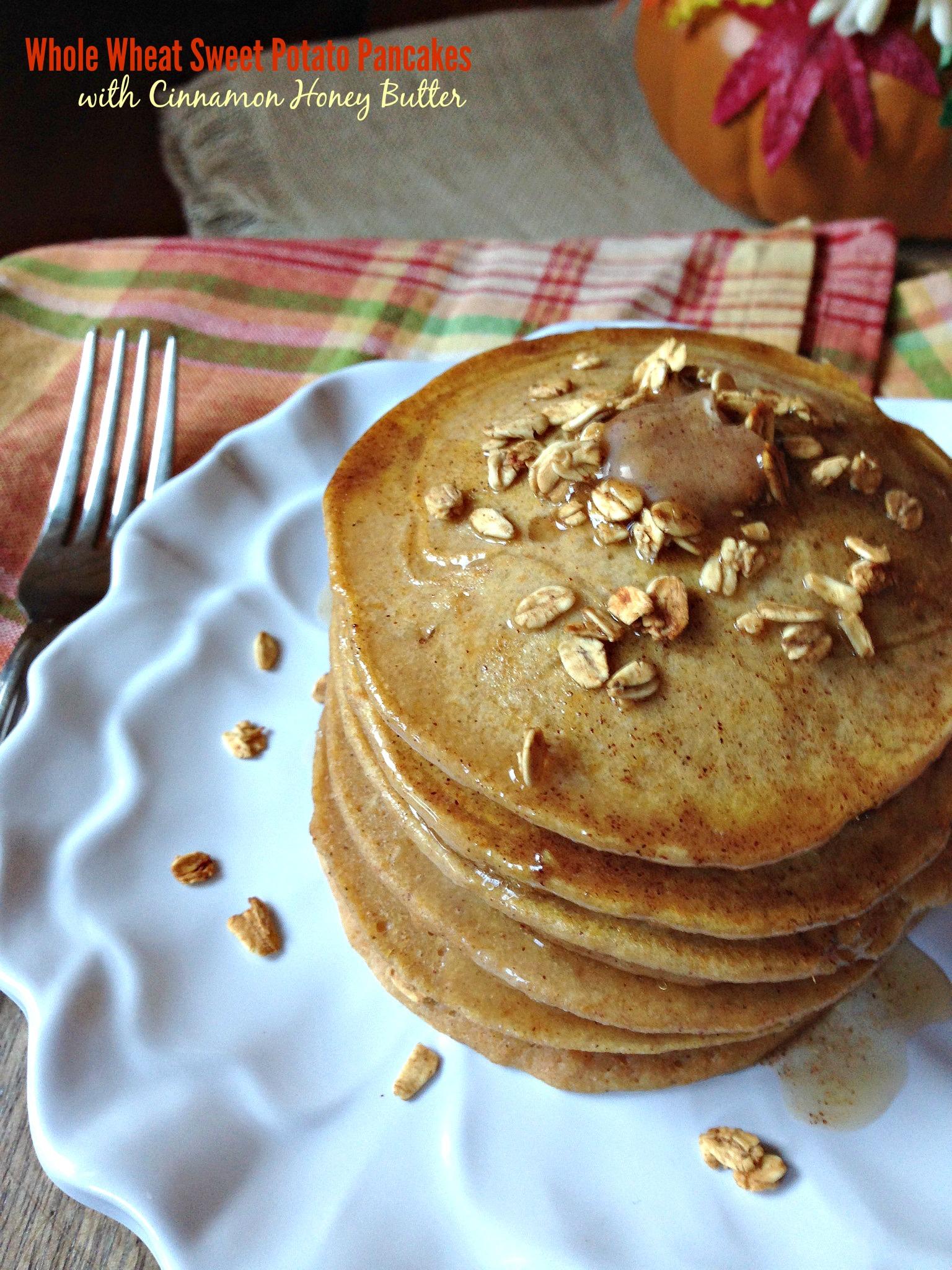 Whole Wheat Sweet Potato Pancakes with Cinnamon Honey Butter