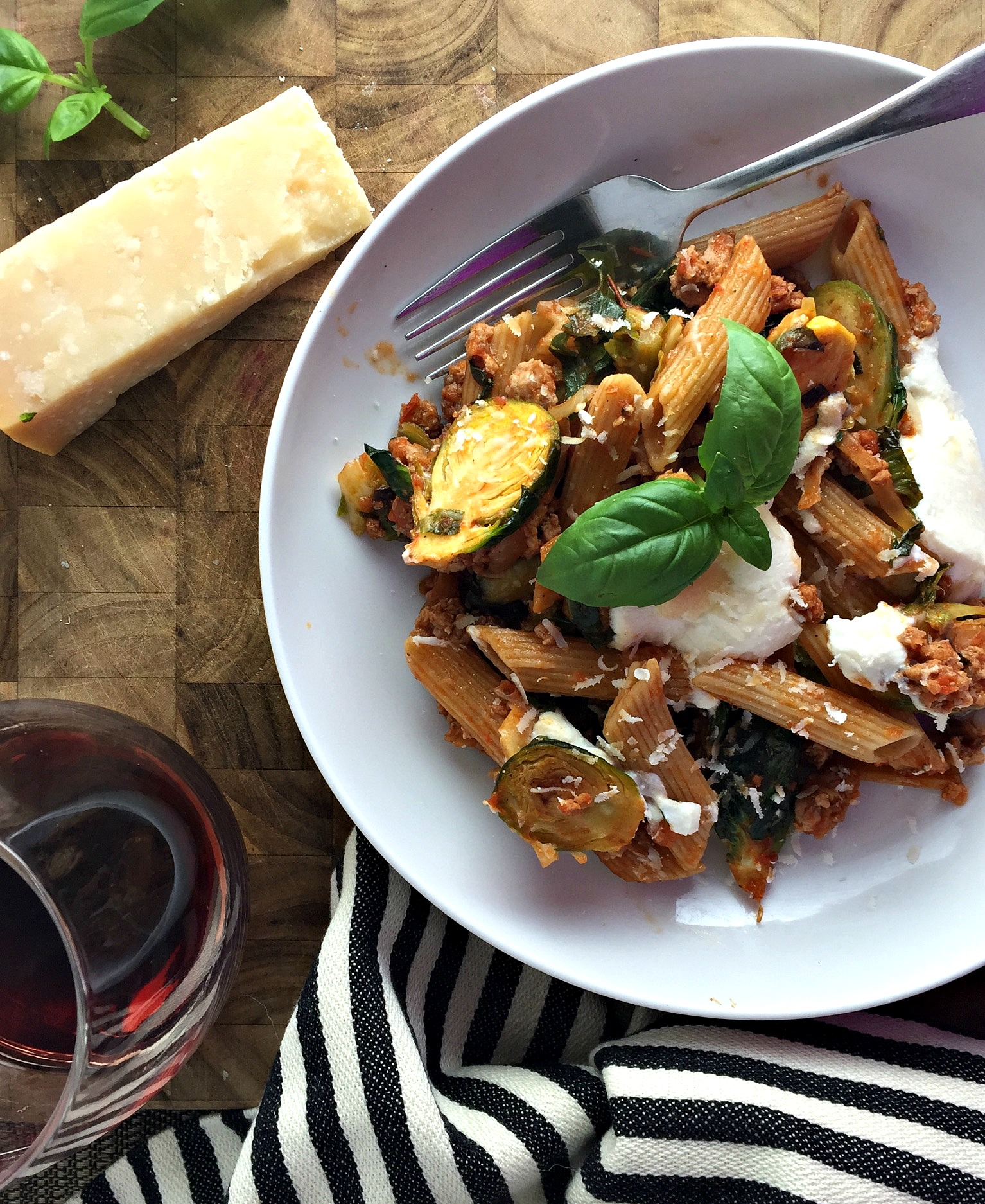 Brussels and Turkey Penne Ragu with Whipped Ricotta