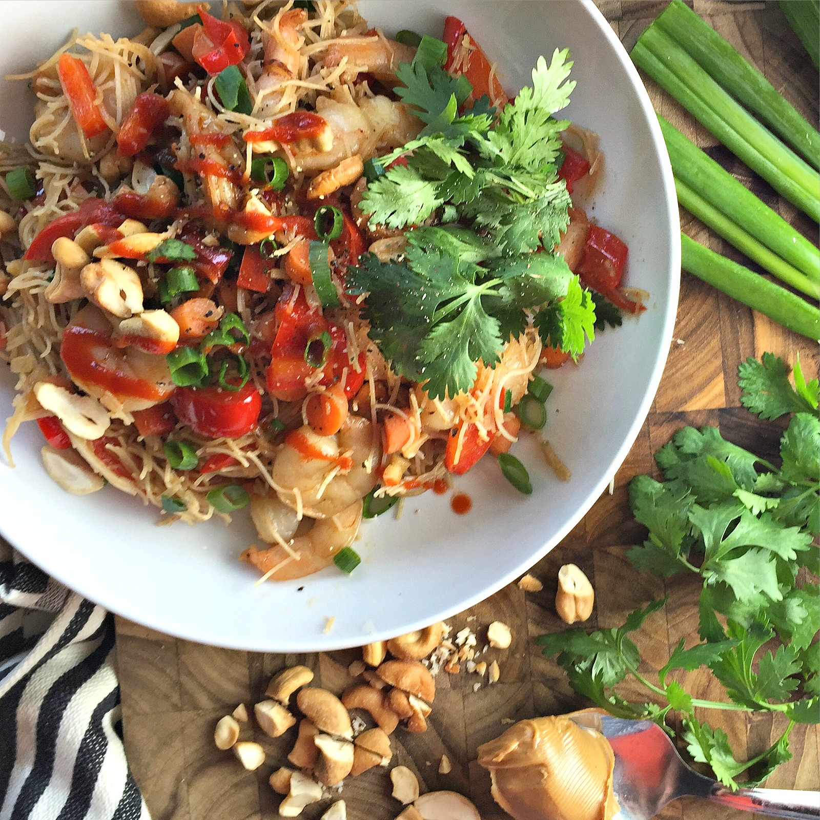 20 Minute Shrimp Brown Rice Noodle Bowls with Peanut Sauce