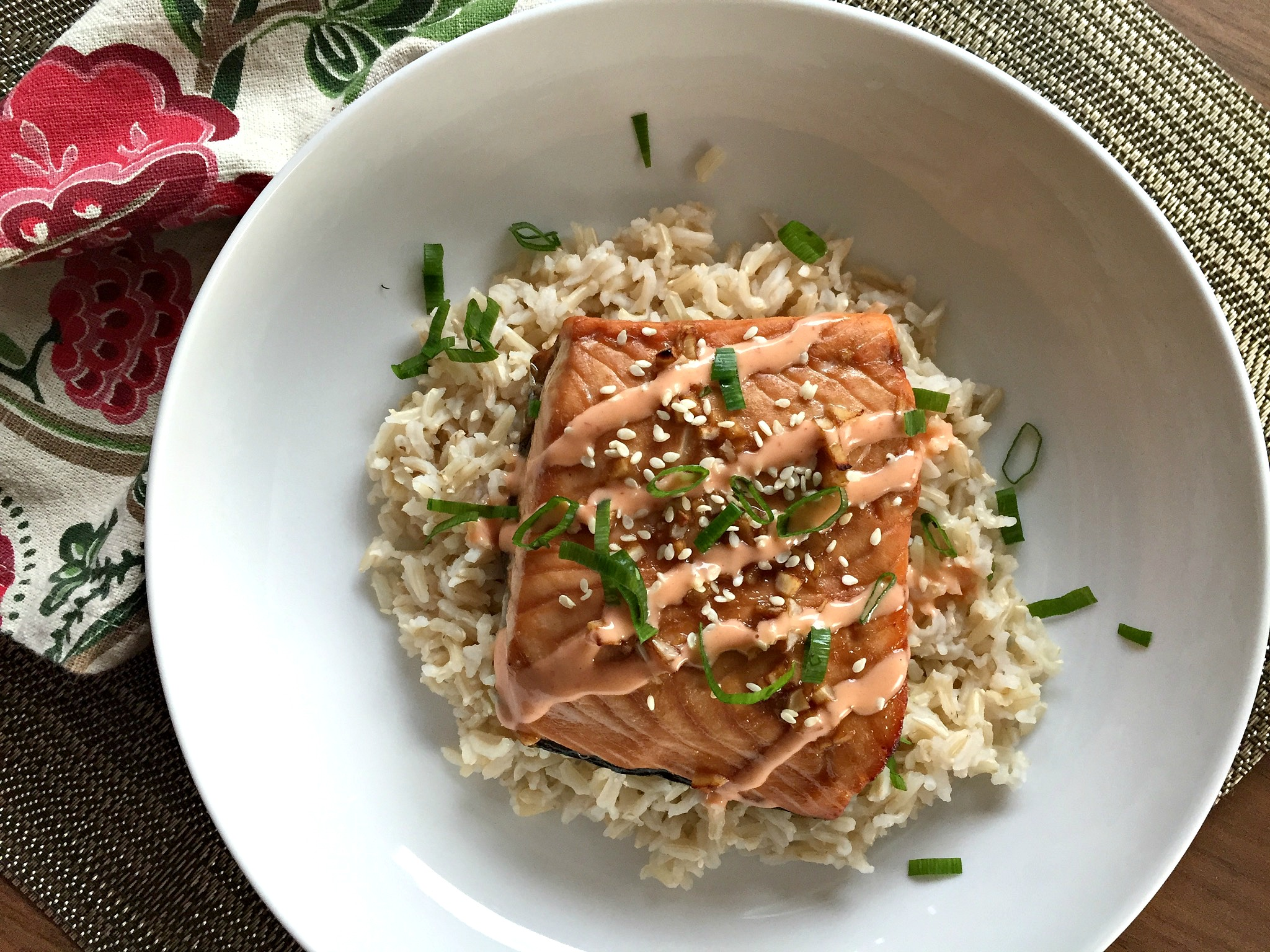 Honey-Soy Salmon with Coconut Sriracha Sauce | Dishing Out ...