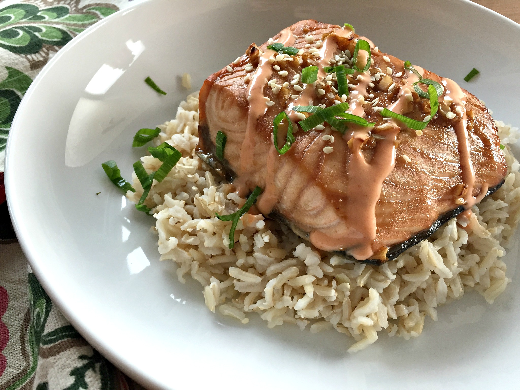 Honey-Soy Salmon with Coconut Sriracha Sauce