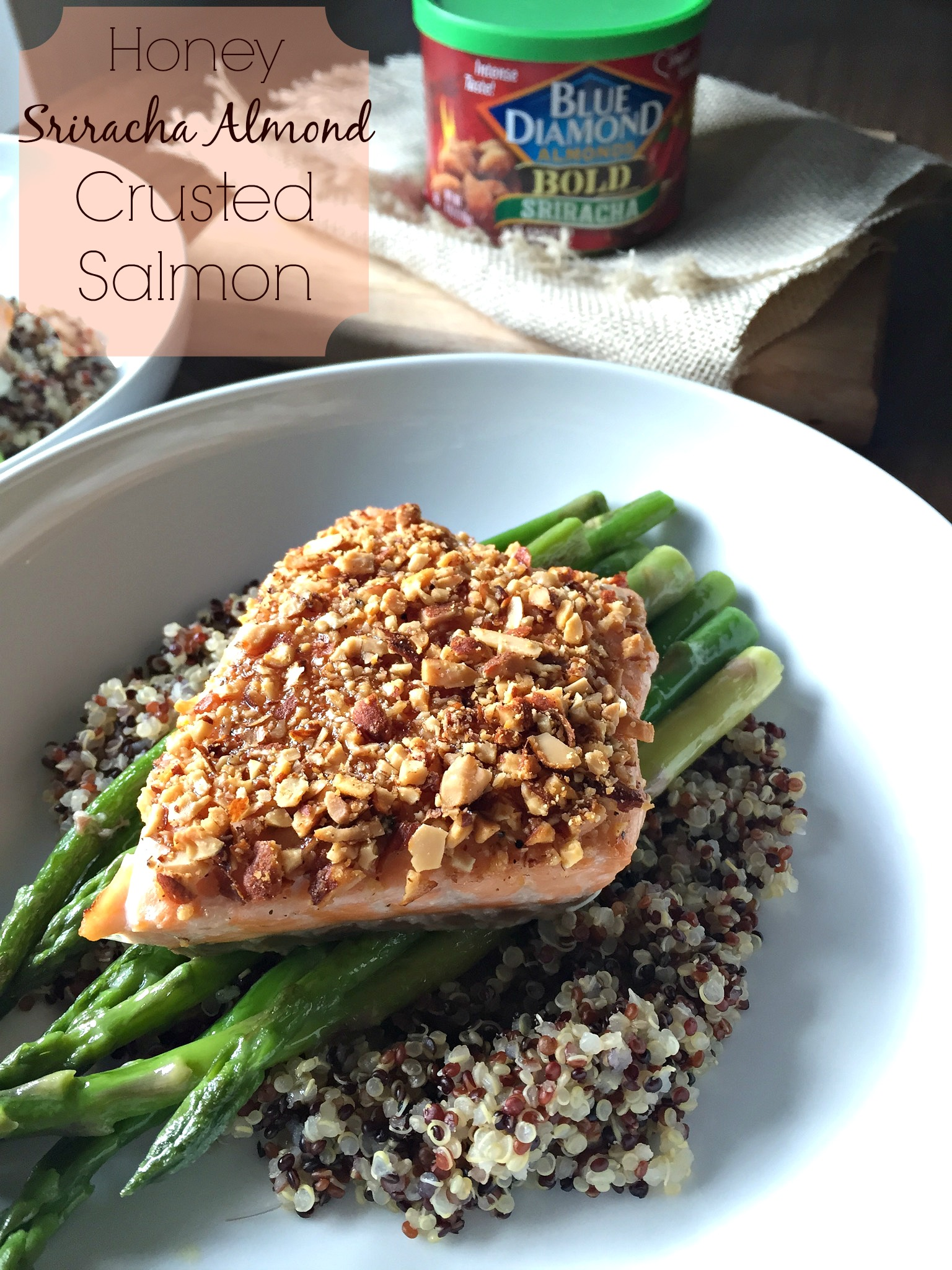 Honey Sriracha Almond Crusted Salmon