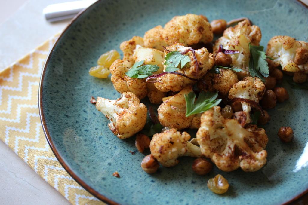 Harissa roasted cauliflower and chickpeas with sweet golden raisins ...