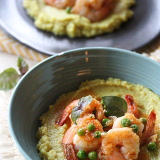 Curried Cauliflower Mash with Spicy Shrimp
