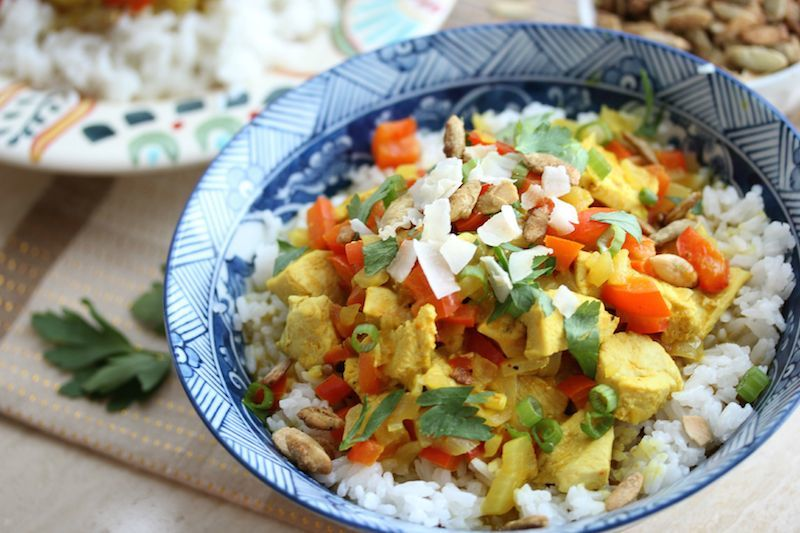Pumpkin Coconut Chicken Curry | dishingouthealth.com