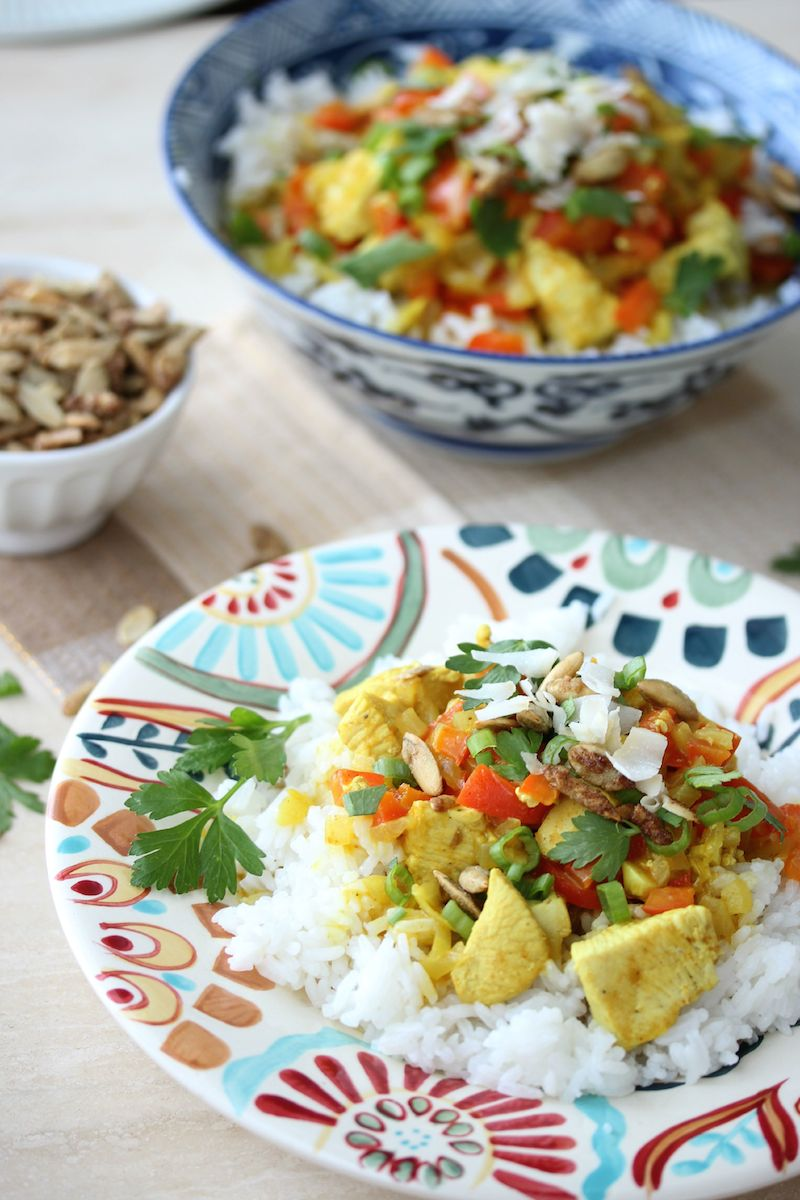 Pumpkin Coconut Chicken Curry | dishingouthealth.com