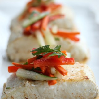 Seared Halibut with Cucumber Slaw and Chili Coconut Cream