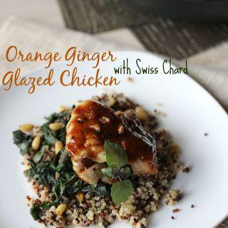 Orange Ginger Glazed Chicken with Swiss Chard