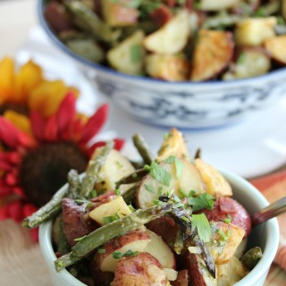 Loaded Roasted Potato Salad (mayo-less)