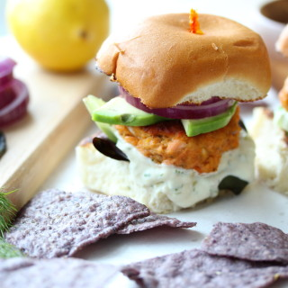 Smoky Salmon Sliders with Lemon Dill Yogurt Spread