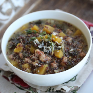 Slow Cooker Turkey Sausage, Squash and Quinoa Soup