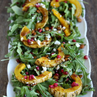 Arugula Salad with Roasted Delicata Squash, Pomegranate and Goat Cheese