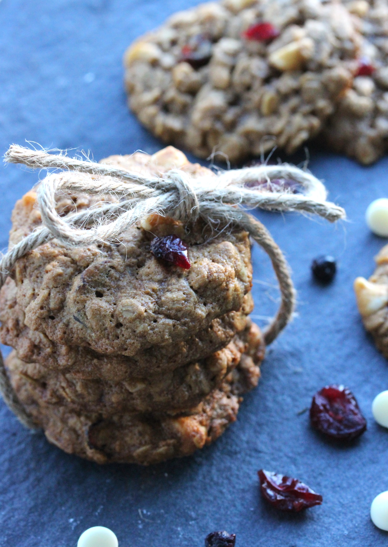 Soft and chewy cranberry white chocolate oatmeal cookies made with ...