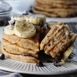 Banana Chocolate Chip Chia Yogurt Pancakes