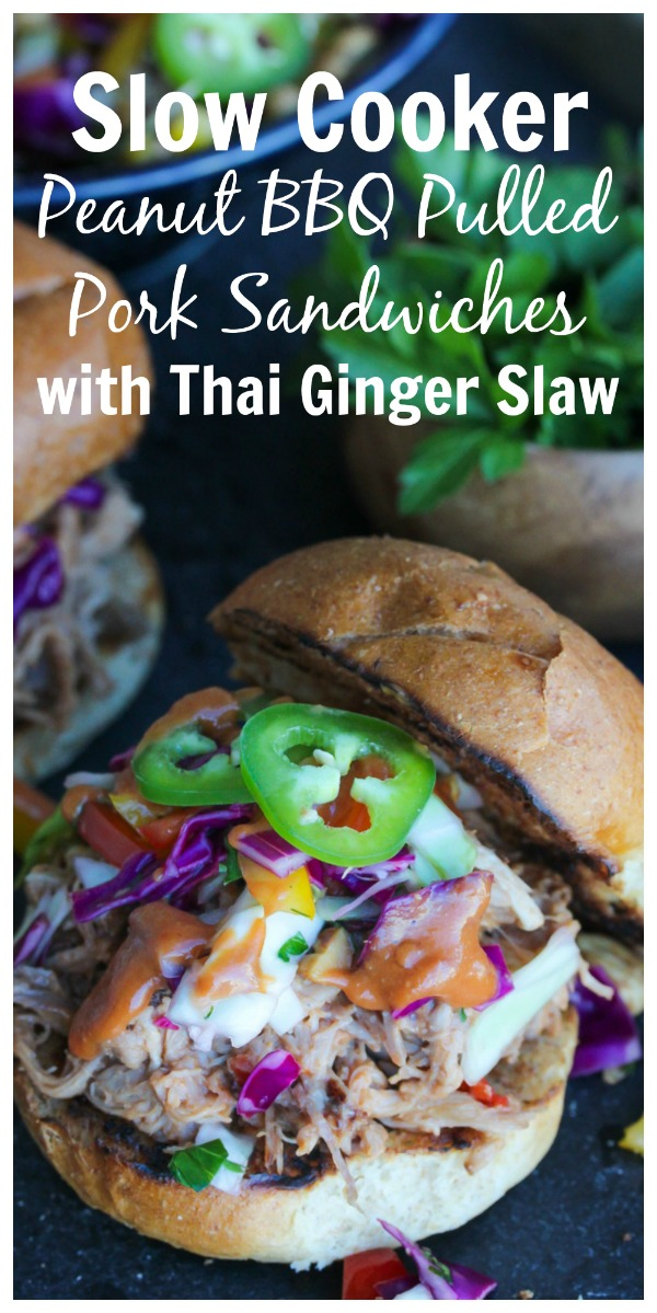 Pulled pork sandwiches with a sweet and tangy peanut butter BBQ sauce and a refreshing Thai ginger slaw. Guaranteed to become a family favorite! | dishingouthealth.com