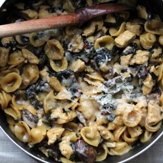 One Pot Chicken, Mushroom and Rainbow Chard Pasta