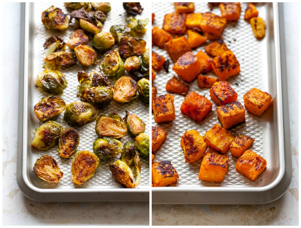 Roasted brussels sprouts and butternut squash on sheet pans