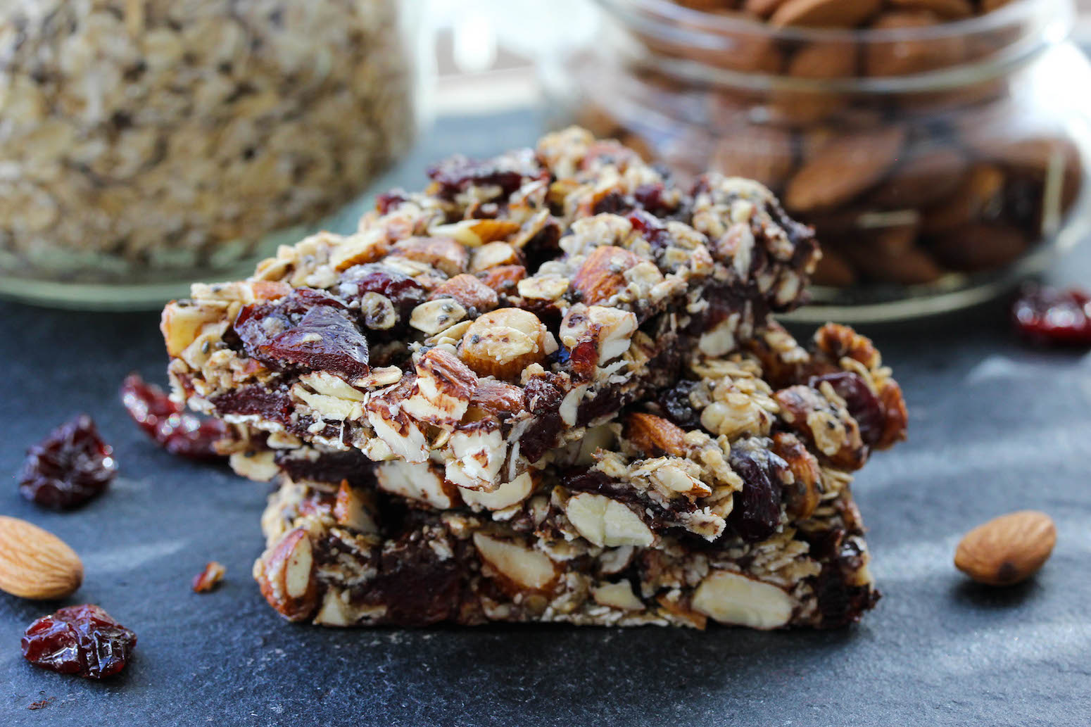 Dark Chocolate Cherry Chia Almond Bars | Dishing Out Health