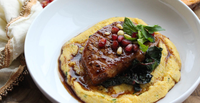Balsamic Glazed Pork with Roasted Garlic Herb Polenta and Greens
