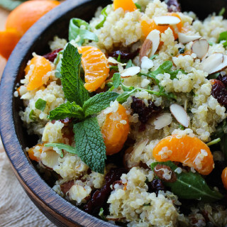 Citrus Mint Quinoa Salad with Cherries and Arugula