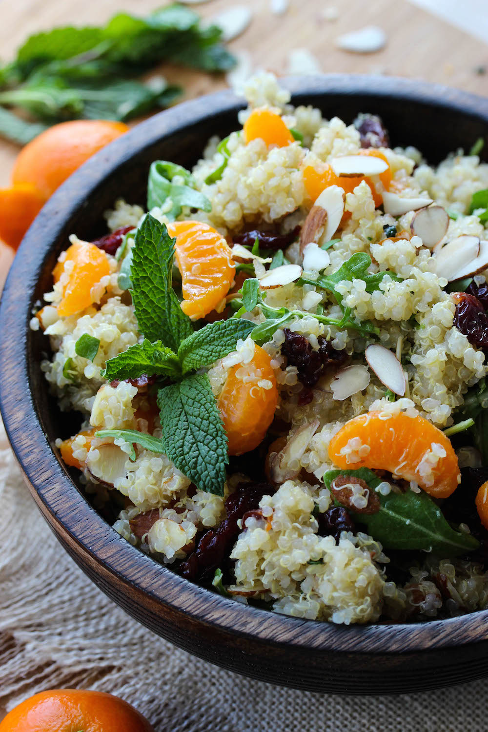 Citrus Mint Quinoa Salad with Cherries & Arugula; A light, nutritious and incredibly simple salad | dishingouthealth.com