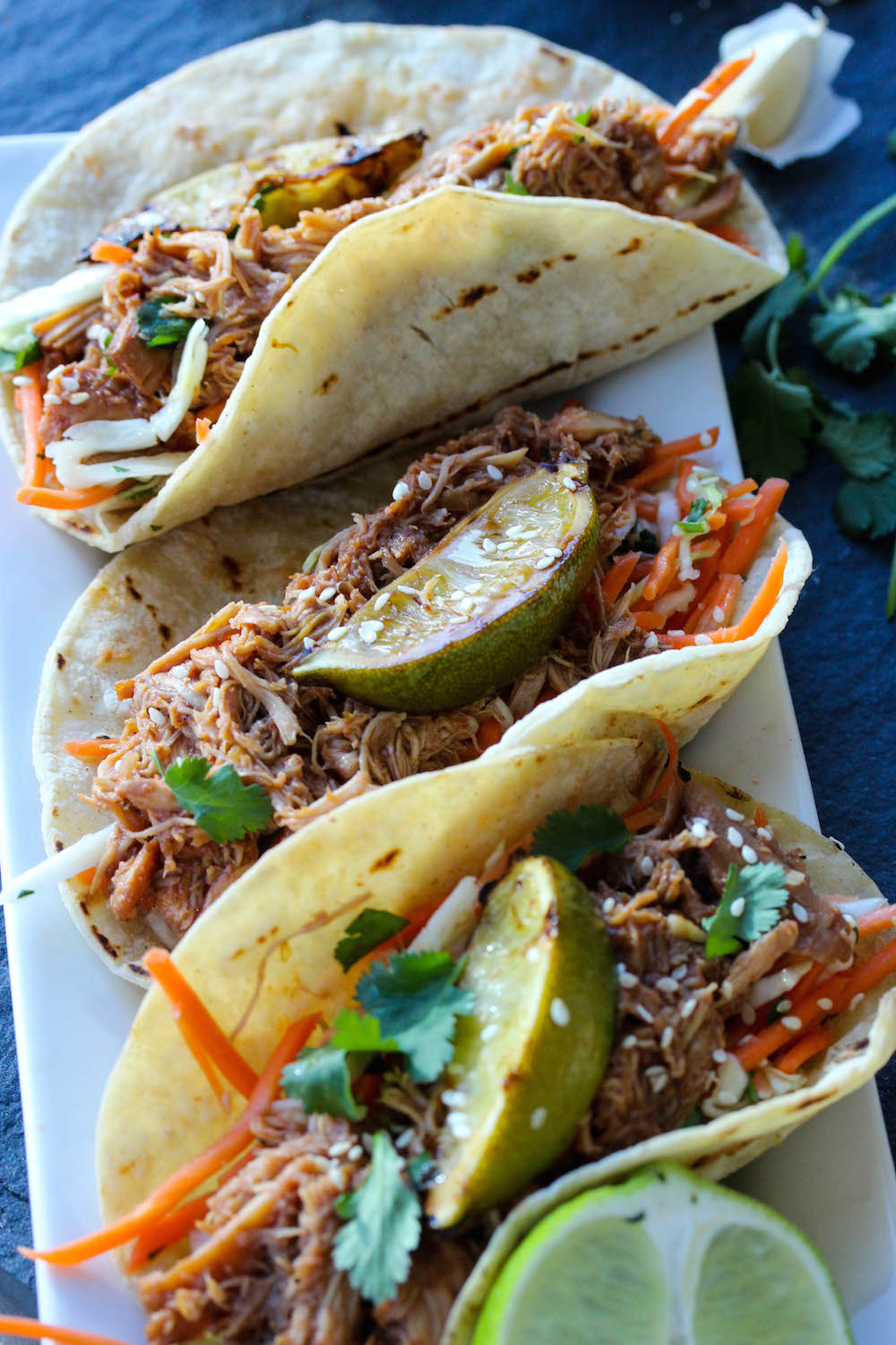 Slow Cooker Hoisin BBQ Chicken Tacos with Asian Slaw