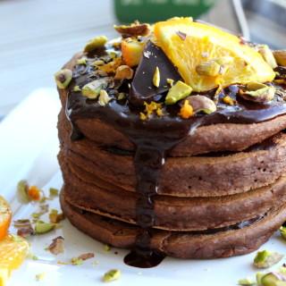 Chocolate Orange Almond Protein Pancakes