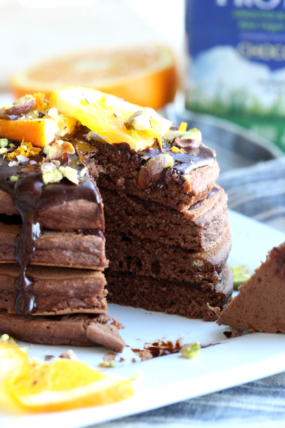 Chocolate Orange Almond Protein Pancakes | Dishing Out Health