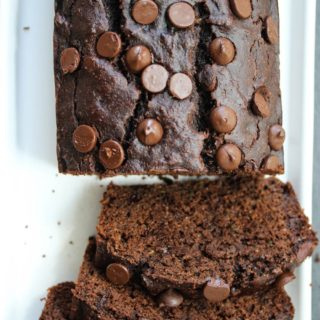 Double Chocolate Almond Butter Zucchini Bread (Oil-free)