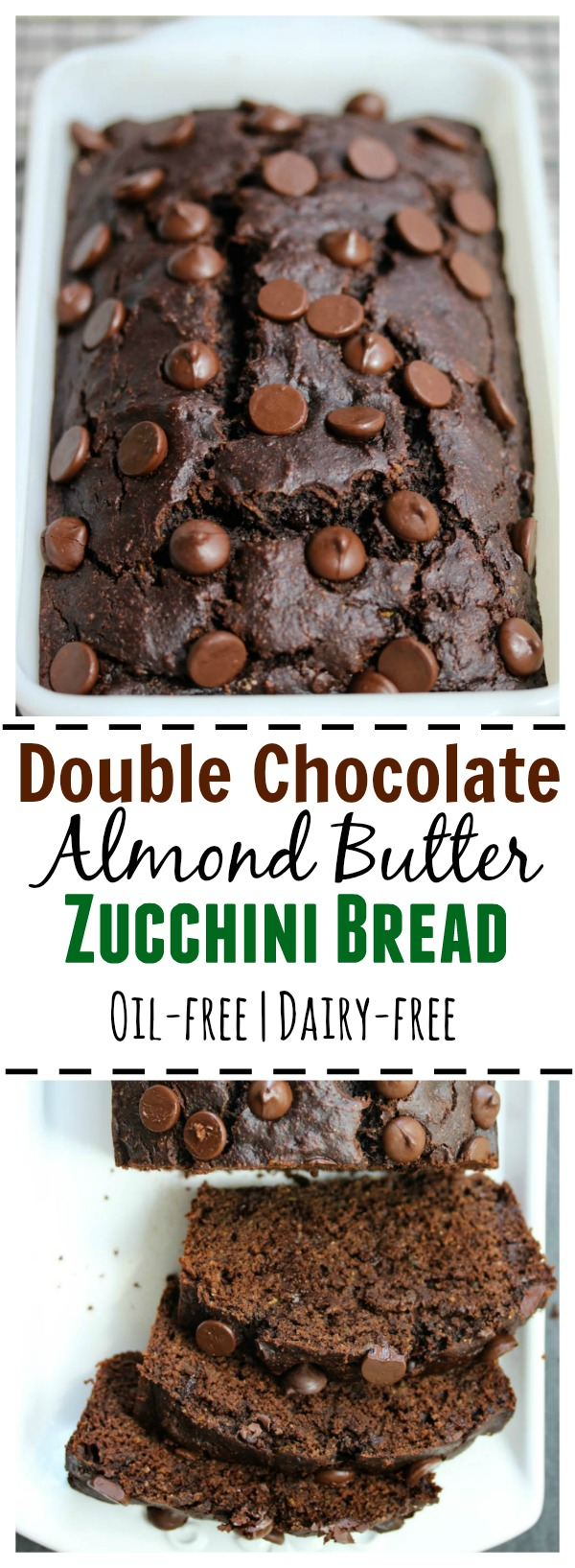 Double Chocolate Almond Butter Zucchini Bread; a nutritious, oil-free, dairy-free bread that tastes like dessert, yet is healthy enough for breakfast | dishingouthealth.com