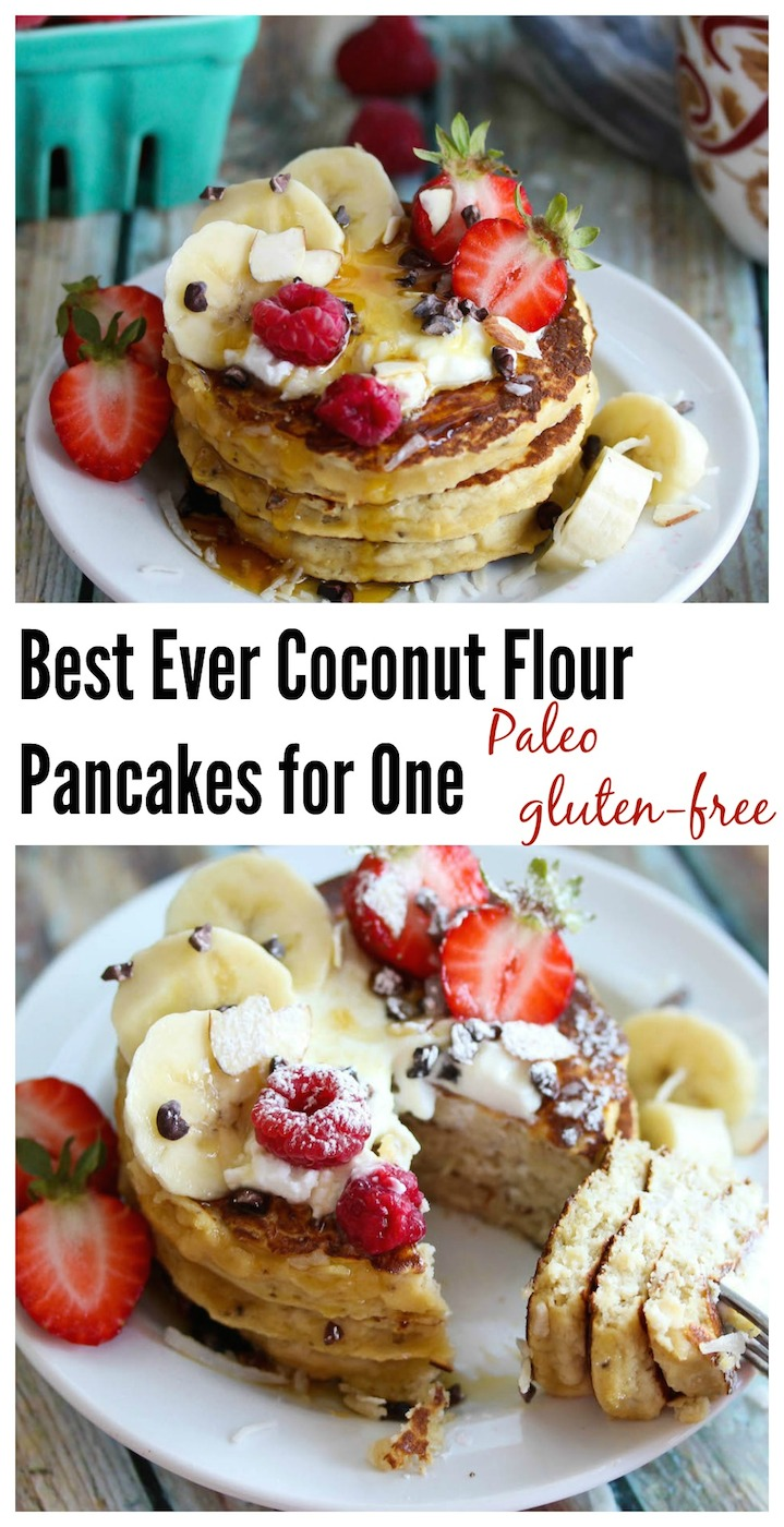 Best Ever Coconut Flour Pancakes for One (Paleo, gluten-free)