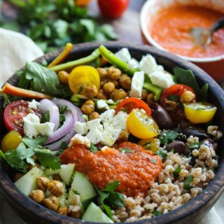 Mediterranean Power Bowls with Smoky Red Pepper Sauce