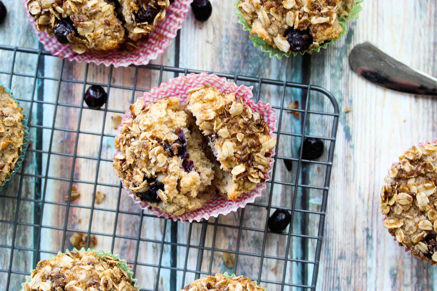 Whole Wheat Blueberry Lemon Greek Yogurt Muffins (high protein, high fiber)