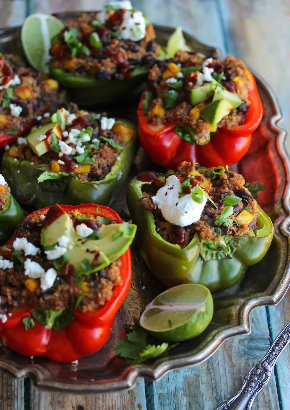 Chipotle Mango, Black Bean and Quinoa Stuffed Peppers