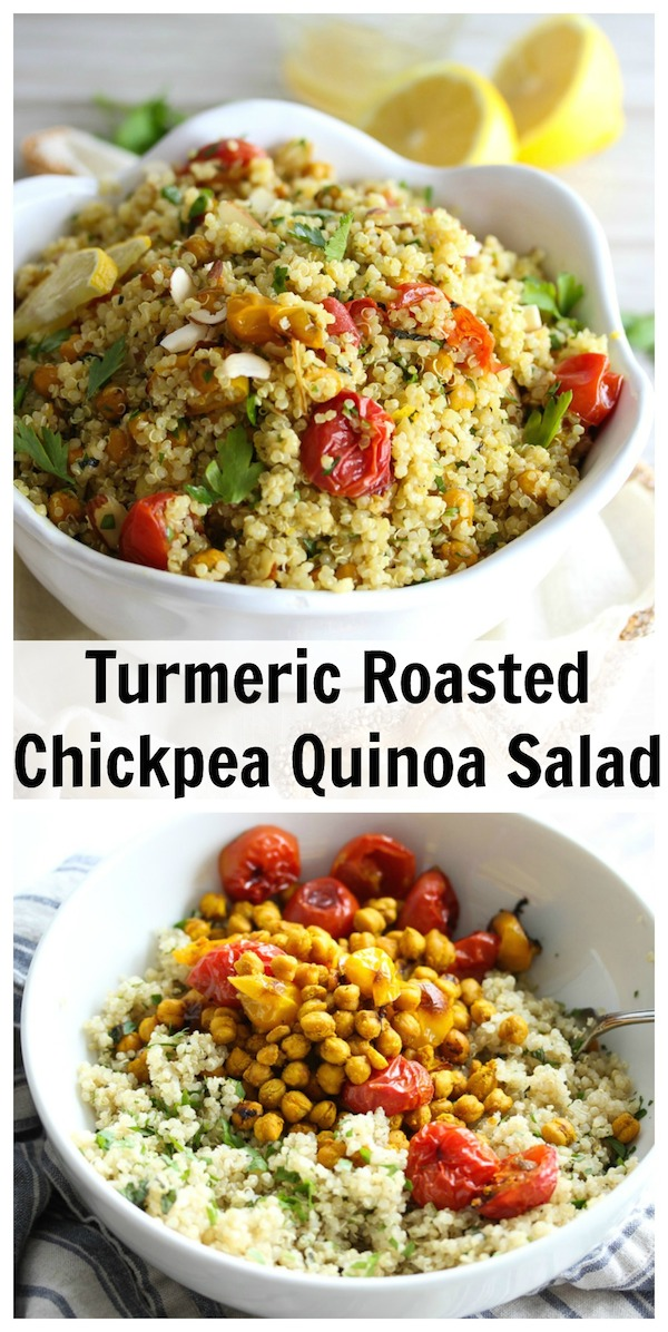 Turmeric Roasted Chickpea Quinoa Salad; gluten-free, antioxidant-rich and heart-healthy