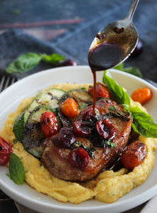 Cherry Balsamic Pork with Herbed Polenta