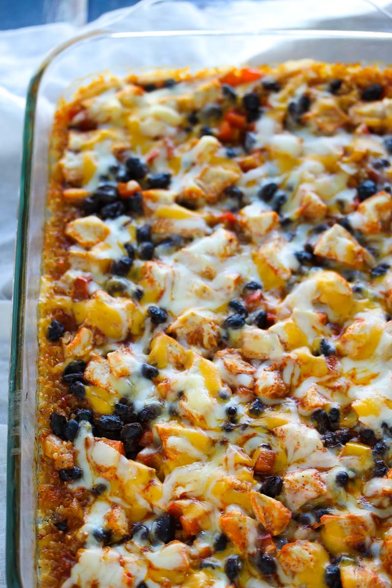 Easy Chicken Enchilada Quinoa Bake | dishingouthealth.com
