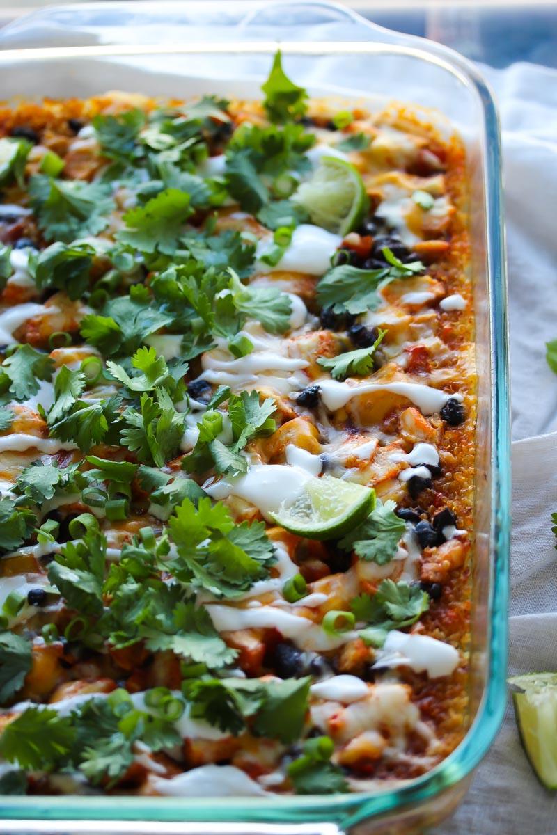 Easy Chicken Enchilada Quinoa Bake