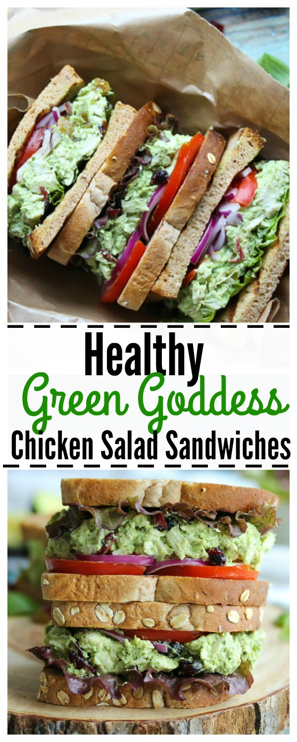 Green Goddess Chicken Salad Sandwiches   a healthy, protein-packed option for work or school lunches!   dishingouthealth.com