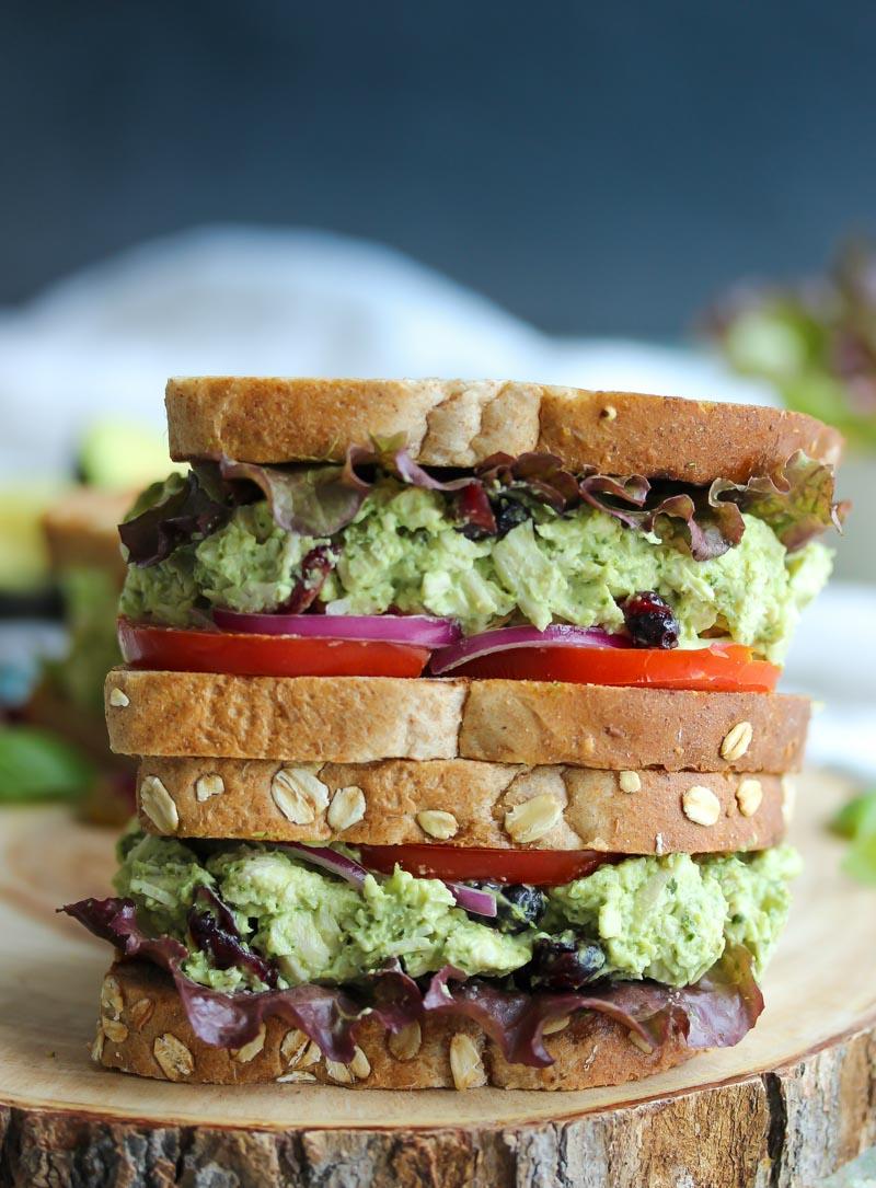 Green Goddess Chicken Salad Sandwiches   dishingouthealth.com