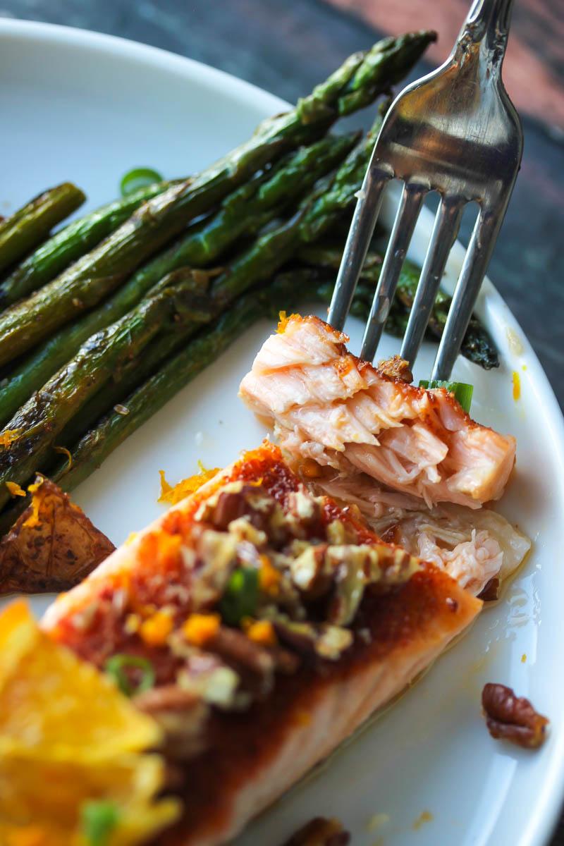 15 Minute Orange Maple Glazed Salmon | dishingouthealth.com