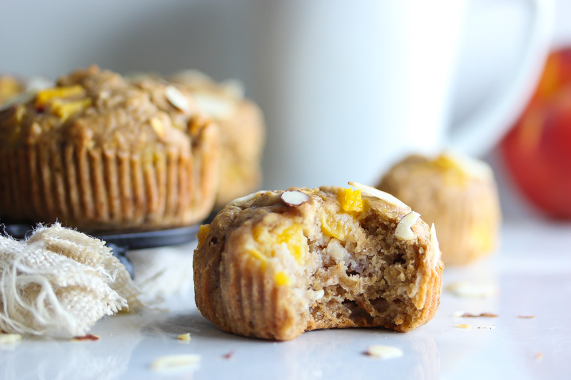 Whole Grain Peach and Coriander Muffins | dishingouthealth.com