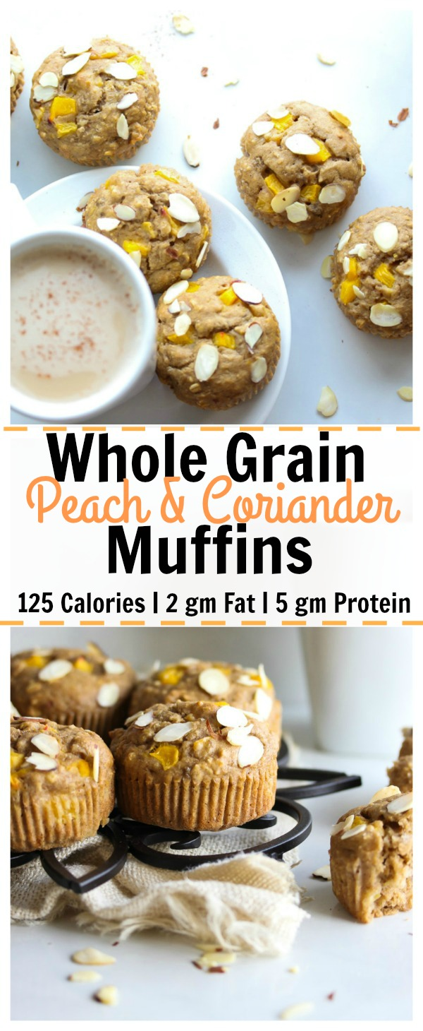 Whole Grain Peach and Coriander Muffins | low fat, high protein breakfast or snack perfect to pack up for work or school! | dishingouthealth.com